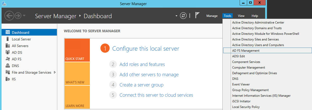 Configuring up Microsoft Active Directory Federation